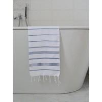 hamam handdoek wit/marineblauw