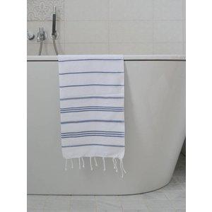 Ottomania hamam handdoek wit/marineblauw