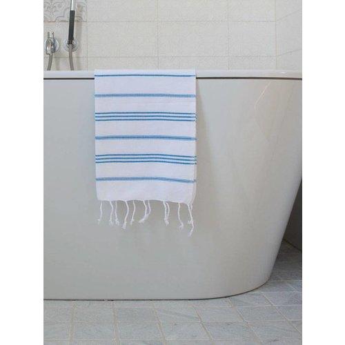 Ottomania hamam handdoek wit/helderblauw