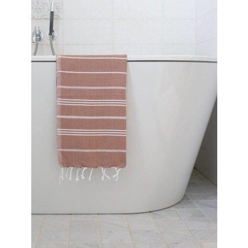 Ottomania hamam handdoek wit met bruine strepen 100x50cm