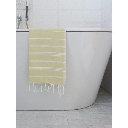 Ottomania hamam handdoek wit met linden strepen 100x50cm