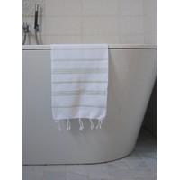 hamam handdoek wit/lichtgroen