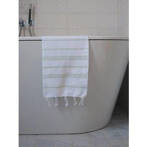 Ottomania hamam handdoek wit/lichtgroen