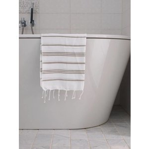 Ottomania hamam handdoek wit/olijfgroen