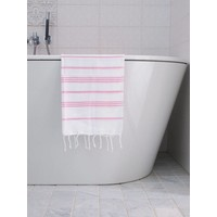 hamam handdoek wit/sorbetroze