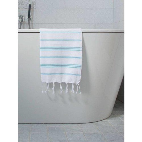 Ottomania hamam handdoek wit met aqua strepen 100x50cm