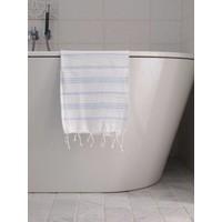 hamam handdoek wit/lichtblauw