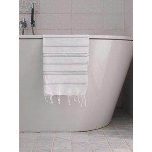 Ottomania hamam handdoek wit/lichtgrijs