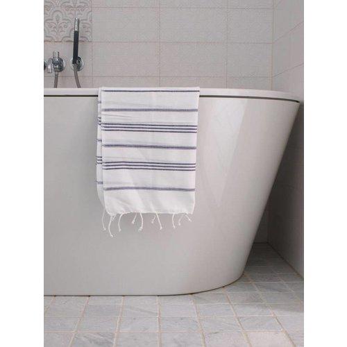 Ottomania hamam handdoek wit met donkerpaarse strepen 100x50cm