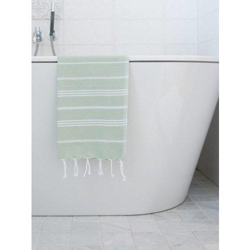 Ottomania hamam handdoek wit met salie strepen 100x50cm