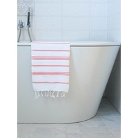 hamam handdoek wit/koraalrood