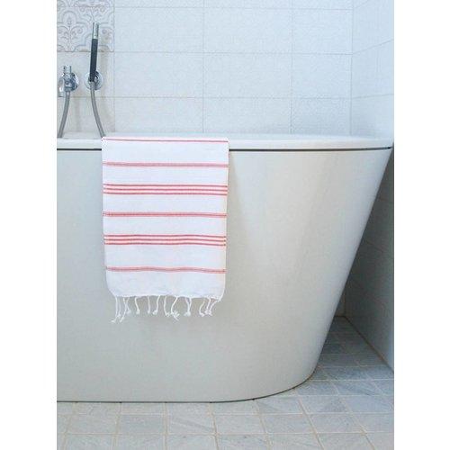 Ottomania hamam handdoek wit/koraalrood
