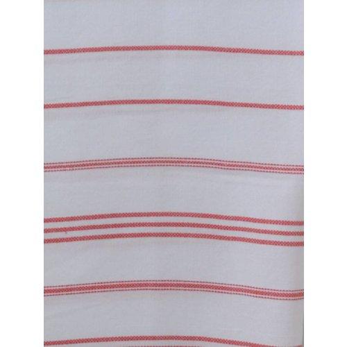 Ottomania hamam handdoek wit met steenrode strepen 100x50cm