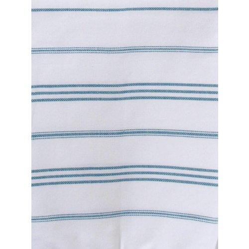 Ottomania hamam handdoek wit met petrol strepen 100x50cm