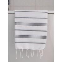 hamam handdoek wit/donkergrijs