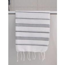 Ottomania hamam handdoek wit/donkergrijs