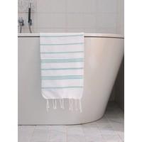 hamam handdoek wit/donkerzeegroen