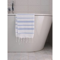 hamam handdoek wit/lavendelblauw