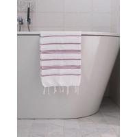 hamam handdoek wit/framboos