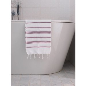 Ottomania hamam handdoek wit/framboos