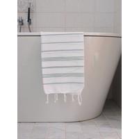 hamam handdoek wit/grijsgroen