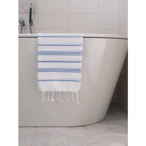 Ottomania hamam handdoek wit/grieksblauw