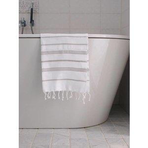 Ottomania hamam handdoek wit/grijsbeige