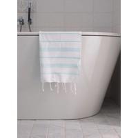 hamam handdoek wit/lichtturquoise