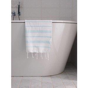 Ottomania hamam handdoek wit/lichtturquoise