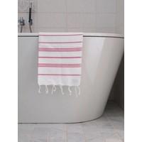 hamam handdoek wit/fuchsia