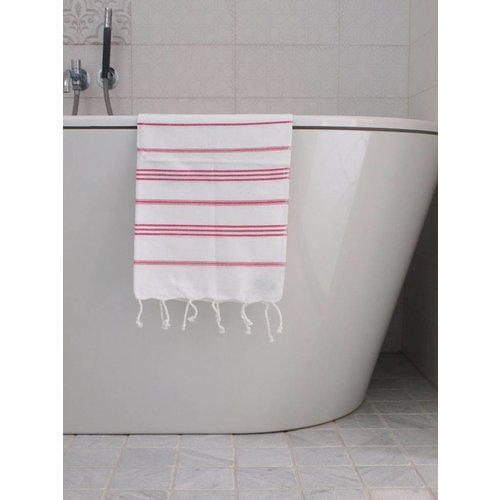 Ottomania hamam handdoek wit met fuchsia strepen 100x50cm