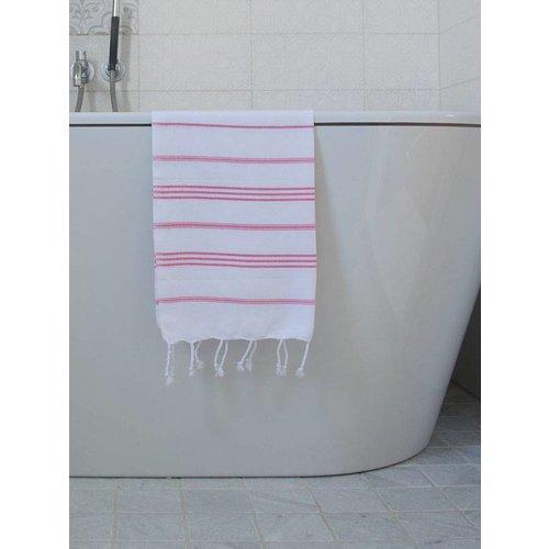Ottomania hamam handdoek zuurstokroze met witte strepen 100x50cm