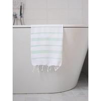 hamam handdoek wit/helderzeegroen