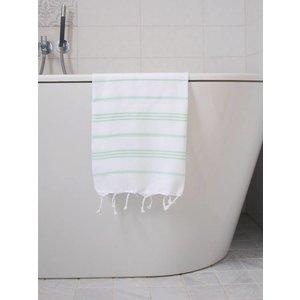 Ottomania hamam handdoek wit/helderzeegroen