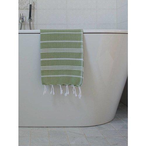 Ottomania hamam handdoek mosgroen met witte strepen 100x50cm