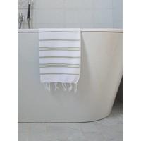 hamam handdoek wit/mosgroen