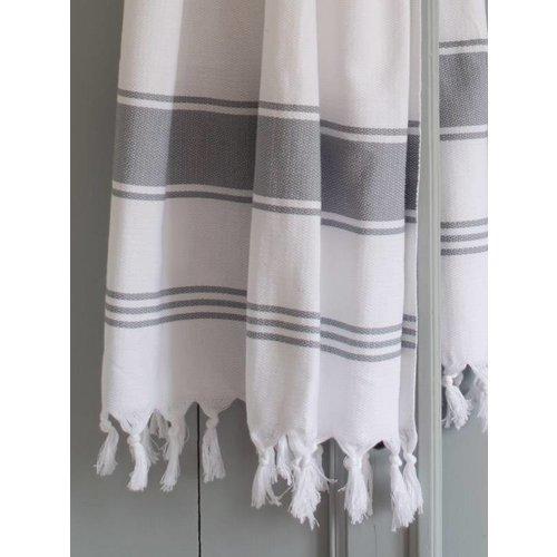 Ottomania hamamdoek Honingraat wit met grijze strepen 170x100cm