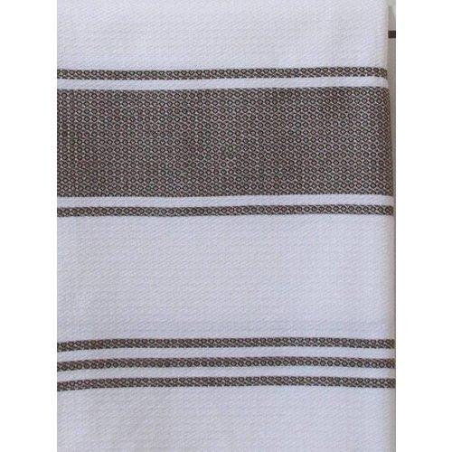 Ottomania hamamdoek Honingraat wit met donkerolijfgroene strepen 170x100cm