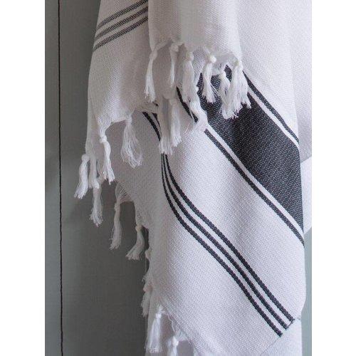 Ottomania hamamdoek Honingraat wit met zwarte strepen 170x100cm
