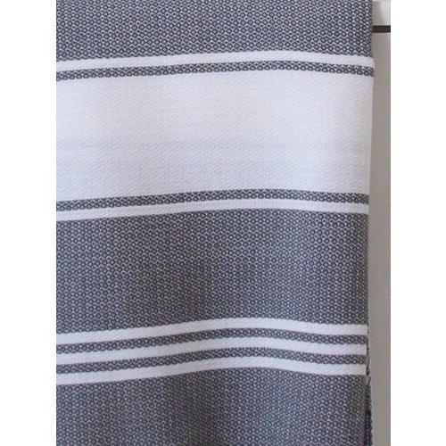 Ottomania hamamdoek Honingraat wit met donkergrijze strepen 170x100cm