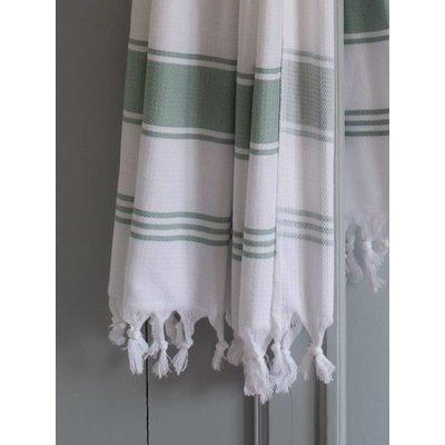 Ottomania hamamdoek Honingraat wit met grijsgroene strepen 170x100cm