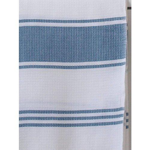 Ottomania hamamdoek Honingraat wit met jeansblauwe strepen 170x100cm