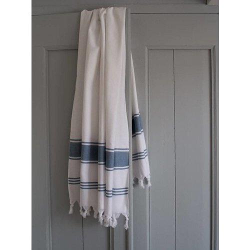 Ottomania hamamdoek Honingraat wit/jeansblauw