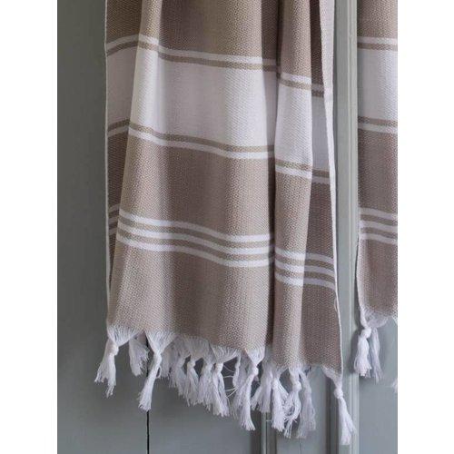 Ottomania hamamdoek Honingraat grijsbeige/wit