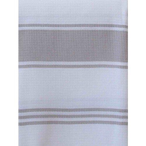 Ottomania hamamdoek Honingraat wit met grijsbeige strepen 170x100cm