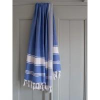 hamamdoek Honingraat grieksblauw/wit