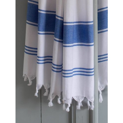 Ottomania hamamdoek Honingraat wit metgrieksblauwe strepen 170x100cm
