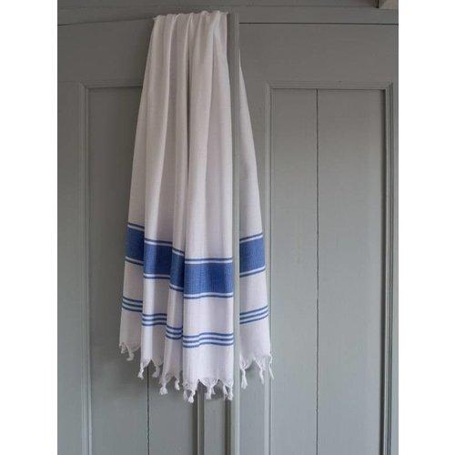 Ottomania hamamdoek Honingraat wit/grieksblauw