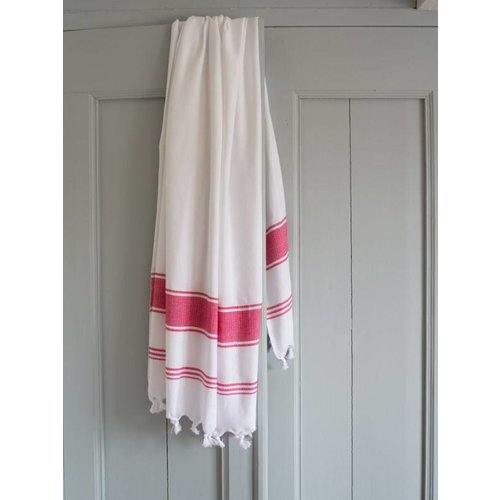 Ottomania hamamdoek Honingraat wit met robijnrode strepen 170x100cm