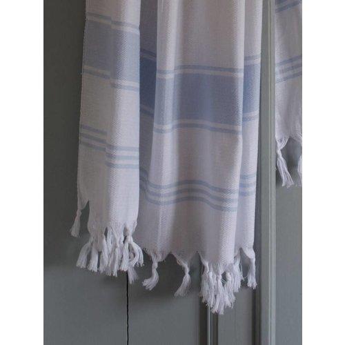 Ottomania hamamdoek Honingraat wit met lichtblauwe strepen 170x100cm